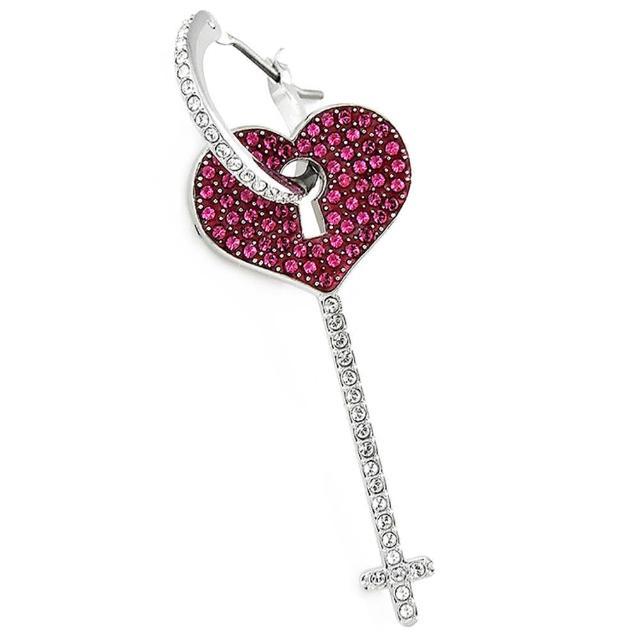【SWAROVSKI 施華洛世奇】愛心鑰匙造型水晶墜飾單邊耳環(桃紅色)