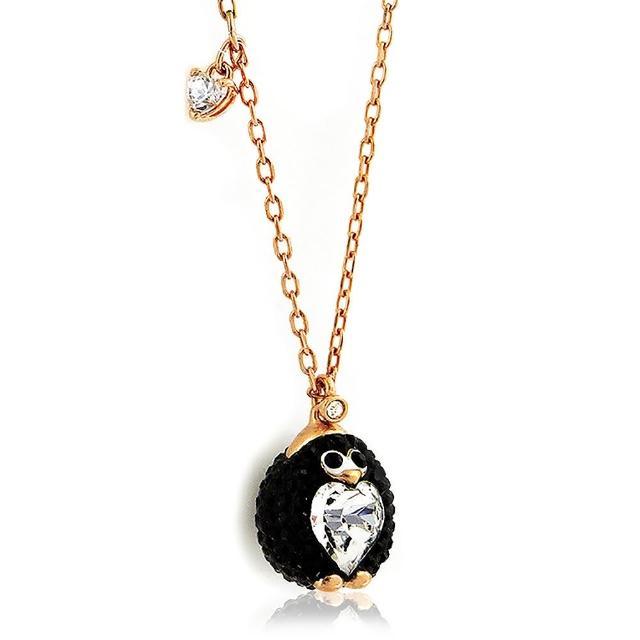 【SWAROVSKI 施華洛世奇】企鵝造型水晶墜飾項鍊(黑色)