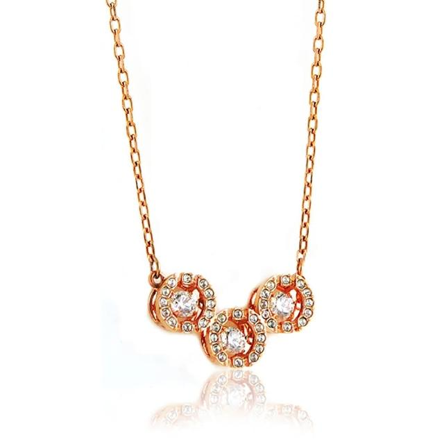 【SWAROVSKI 施華洛世奇】三圓環水晶鑲嵌墜飾項鍊(玫瑰金色)