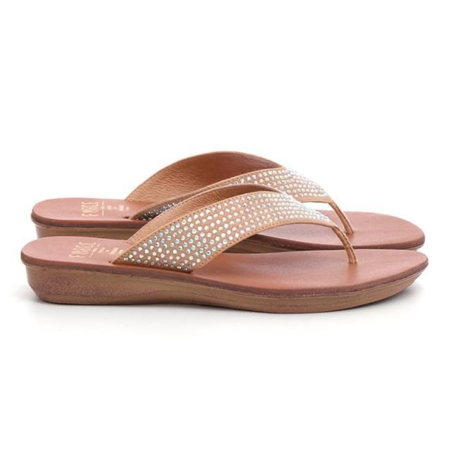 【FNACE】迷人耀眼時尚燙鑽夾腳拖鞋(幻彩米白)