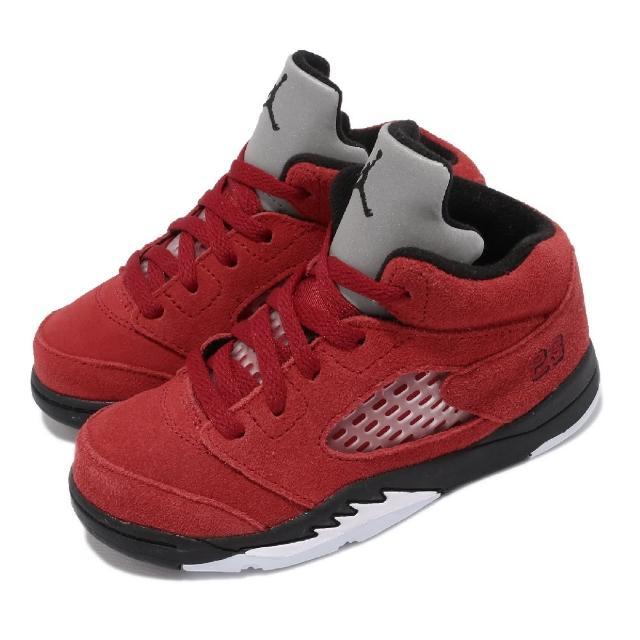【NIKE 耐吉】籃球鞋 Jordan 5 Retro 童鞋 喬丹 經典款 復刻 麂皮 小童 反光 紅 黑(440890-600)