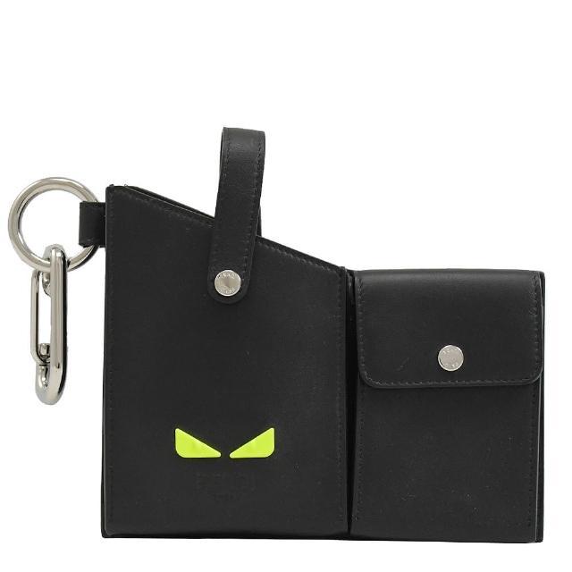 【FENDI 芬迪】小怪獸手機鑰匙零錢包扣環皮帶腰包(黑)