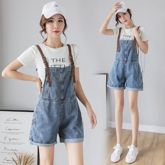 【WHATDAY】時尚抓紋青春撞色吊帶捲邊短褲S-XL