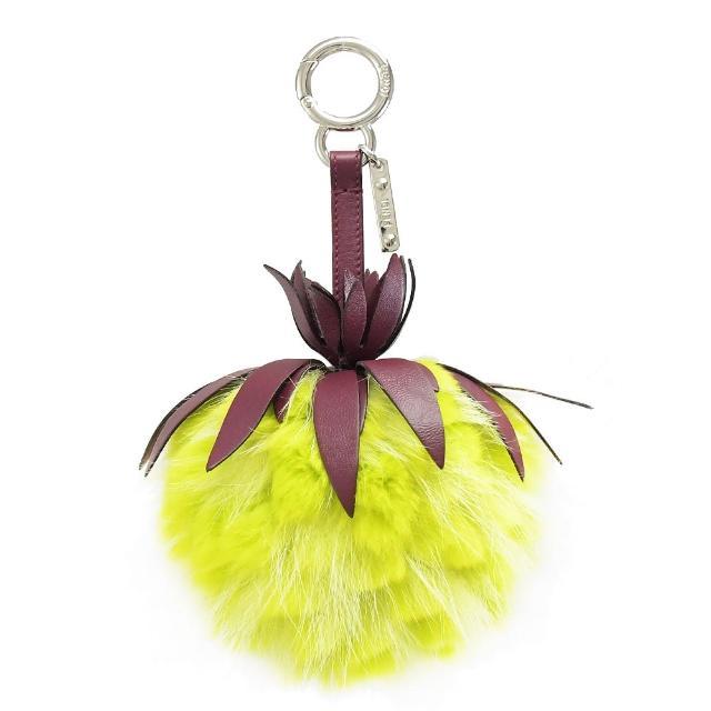 【FENDI 芬迪】立體波羅毛球造型扣環雙吊飾鑰匙圈(黃)