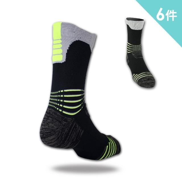 【老船長】9824全方位足弓壓力運動襪網球襪-6雙入(螢光綠)