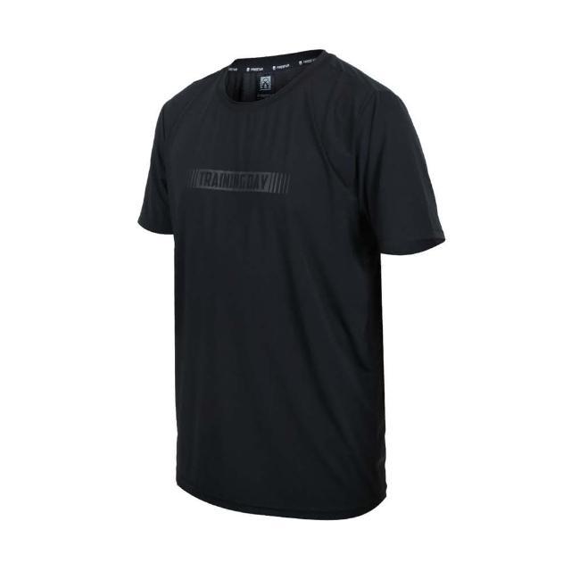 【FIRESTAR】男彈性印花圓領短袖T恤-慢跑 路跑 涼感 上衣 反光 黑灰(D1737-10)