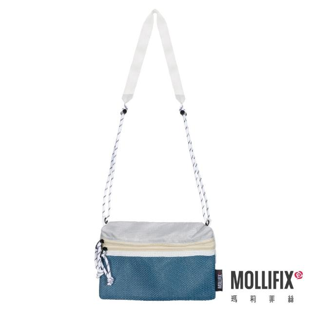 【Mollifix 瑪莉菲絲】拼色雙袋斜背隨身小包(藍綠)