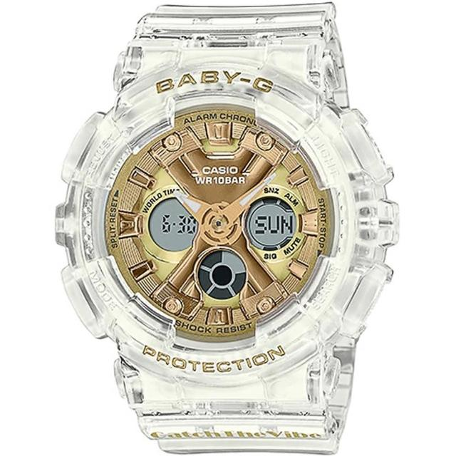 【CASIO 卡西歐】BABY-G RIEHATA聯名復古嘻哈風情雙顯錶(BA-130CVG-7A)