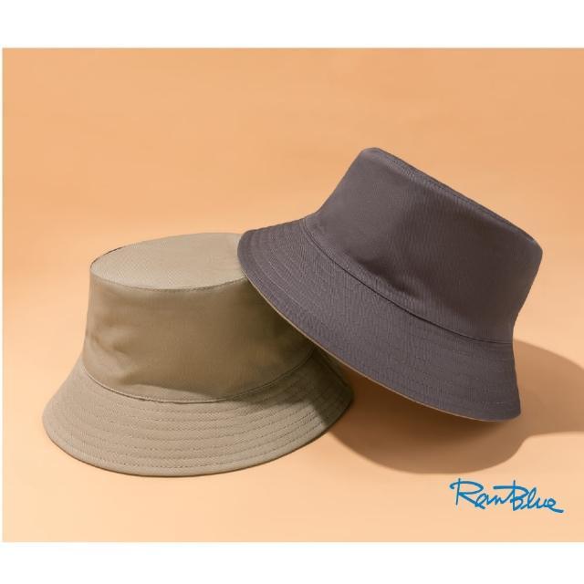 【Ranblue】韓版簡約 雙面漁夫帽 防曬遮陽帽(卡其/鐵灰)