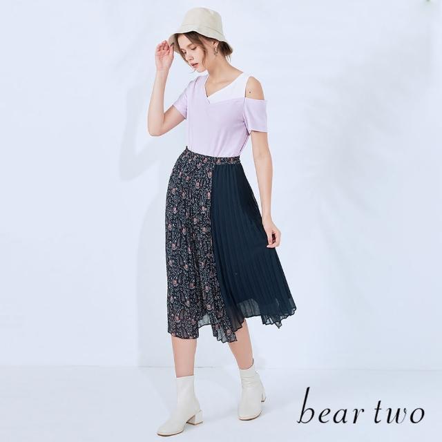 【bear two】佩斯利印花拼接百褶裙(兩色)