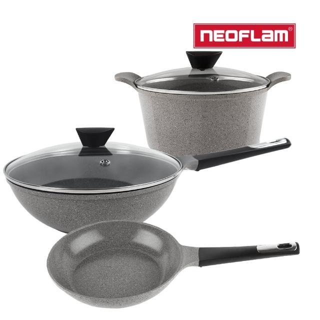 【NEOFLAM】Venn系列 鍋具3件組(24cm湯鍋+24cm平底鍋+30cm炒鍋)