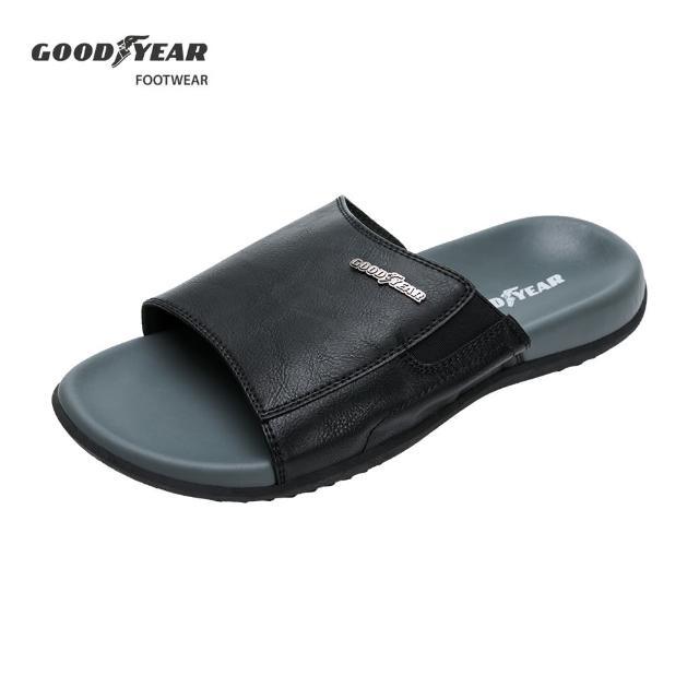 【GOODYEAR 固特異】尊爵-超緩震拖鞋/男款 雙層減壓底 黑色(固特異GAML13350)