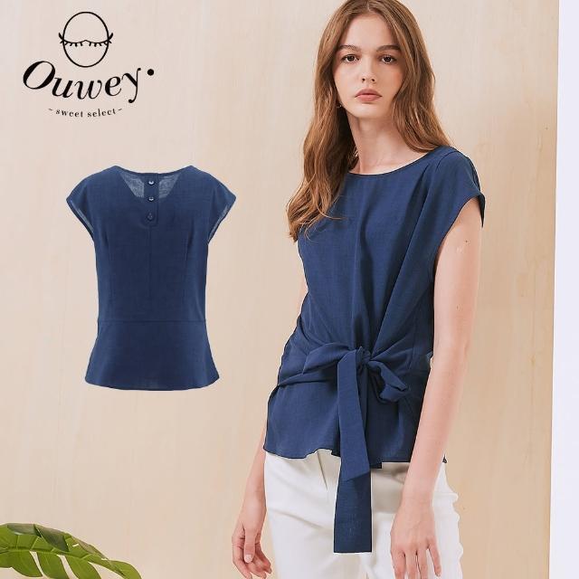 【OUWEY 歐薇】修身打結造型連袖質感上衣3212081045(深藍)