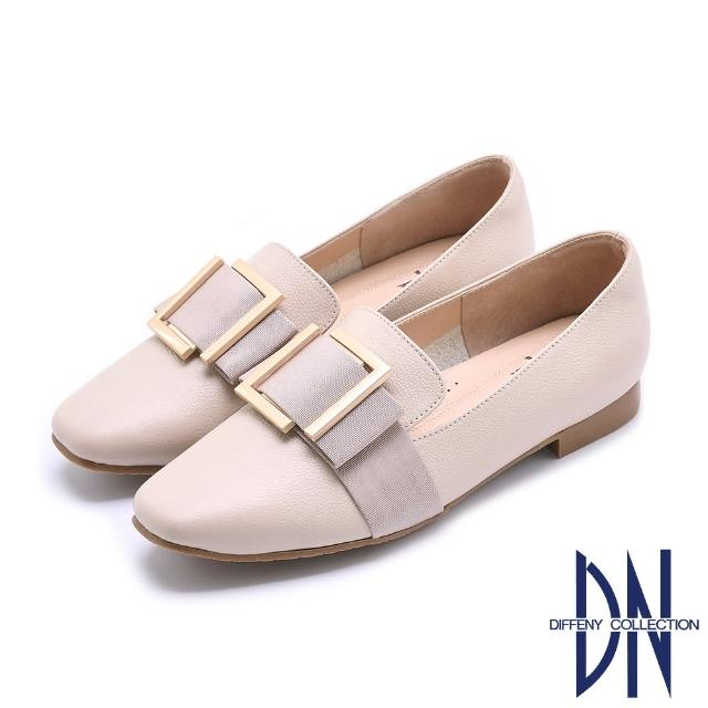 【DN】樂福鞋_MIT牛皮拼接方釦緞面蝴蝶結平底鞋(米)