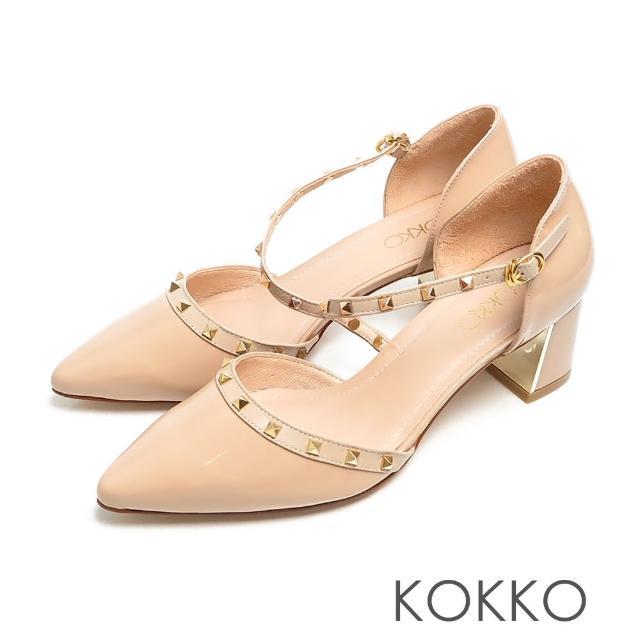 【KOKKO 集團】優雅尖頭牛漆皮鉚釘瑪莉珍鏡面粗跟鞋(奶茶色)