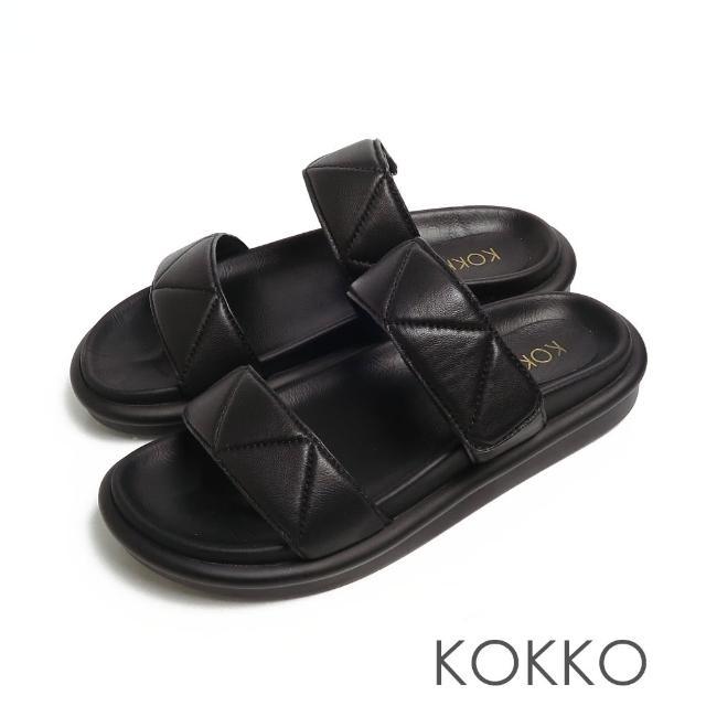 【KOKKO 集團】簡約壓紋牛皮寬版厚底拖鞋(黑色)