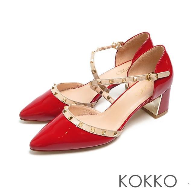【KOKKO 集團】優雅尖頭牛漆皮鉚釘瑪莉珍鏡面粗跟鞋(烈焰紅)