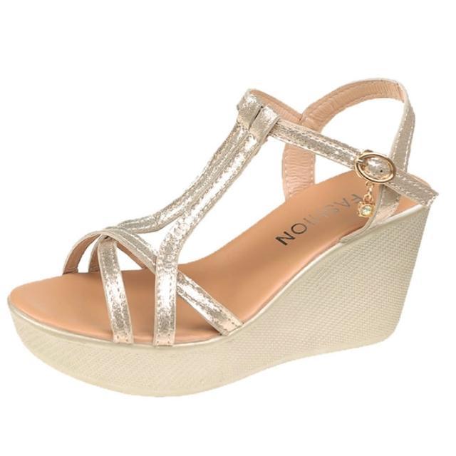 【Taroko】夏季金蔥一字帶波跟涼鞋(3色可選)