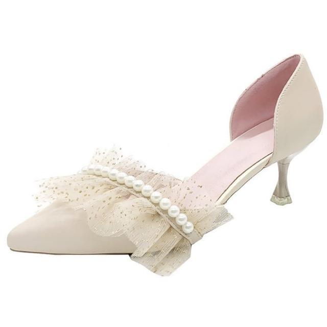 【Taroko】香檳色網紗珍珠中空婚鞋伴娘鞋(2色可選)