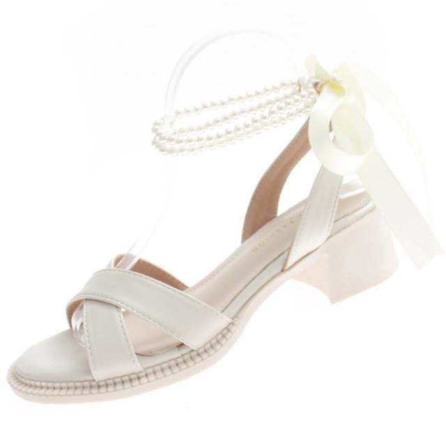 【Taroko】優雅蝴蝶結珍珠繞帶交叉露趾涼鞋(2色可選)