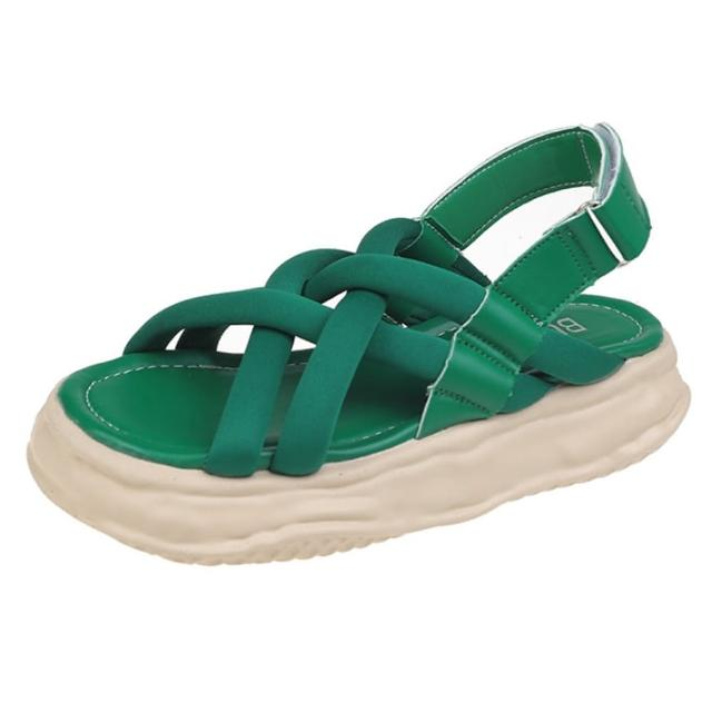 【Taroko】純色布面磨砂交錯厚底涼鞋(4色可選)