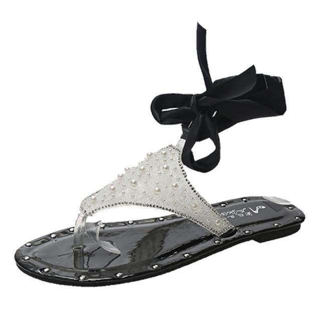 【Taroko】綢緞蝴蝶結珍珠夾腳平底涼鞋(3色可選)