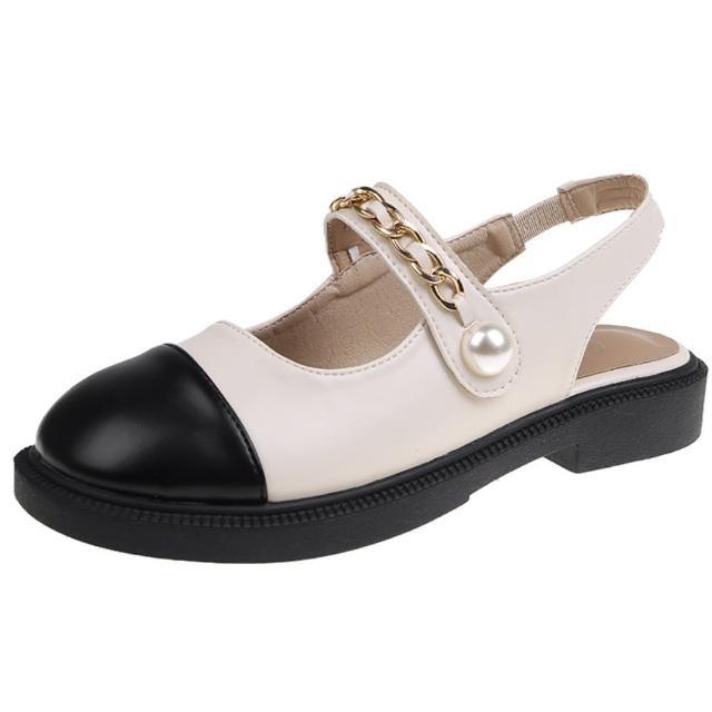 【Taroko】日系拚色珍珠搭扣後空淑女鞋(2色可選)