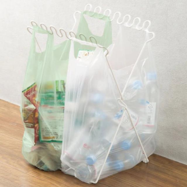 【NITORI 宜得利家居】折疊式分類垃圾袋架 收納架 PBRAN WH(垃圾袋架 收納架)