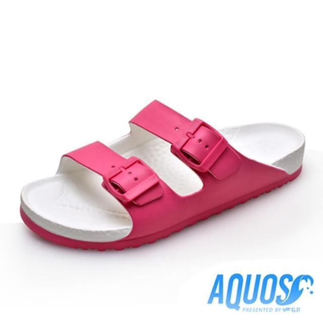 【G.P】女 AQUOS雙色雙帶柏肯防水拖鞋 女鞋(桃紅)
