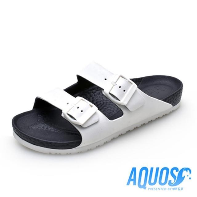 【G.P】男 AQUOS雙色雙帶柏肯防水拖鞋 男鞋(白黑)