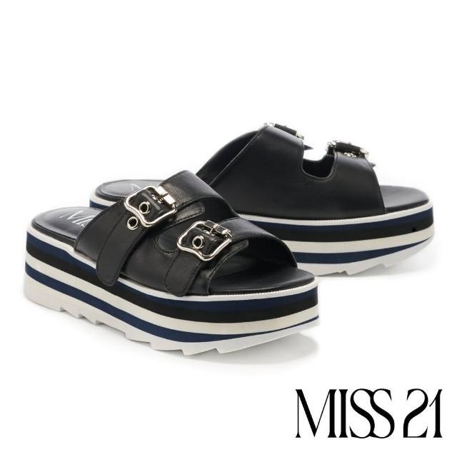 【MISS 21】時髦小復古牛皮超高雙色堆疊厚底拖鞋(黑)