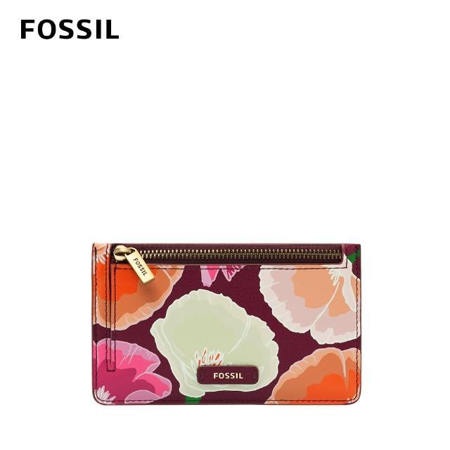 【FOSSIL】Logan 真皮拉鍊零錢夾-粉色花卉 SL6481664