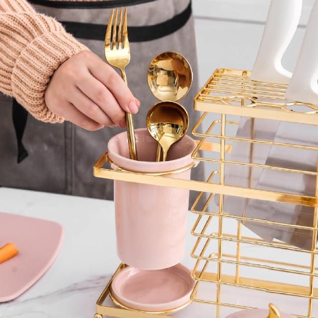【防疫必備】輕奢風 多功能金邊刀架 瀝水架 筷籠 餐廚收納架(廚房收納)