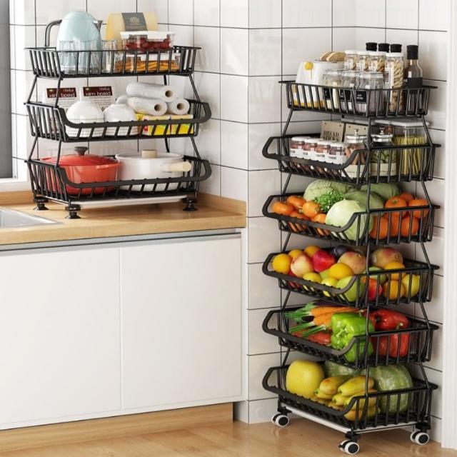 【AOTTO】多功能碳鋼帶輪四層收納架 置物架(蔬果籃 果菜籃)