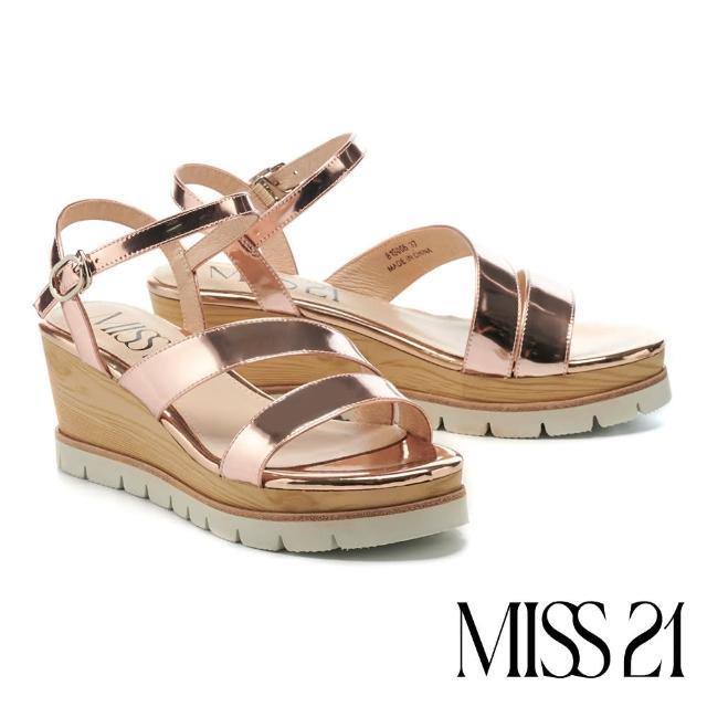 【MISS 21】簡約質感繫帶牛皮楔型高跟涼鞋(金)