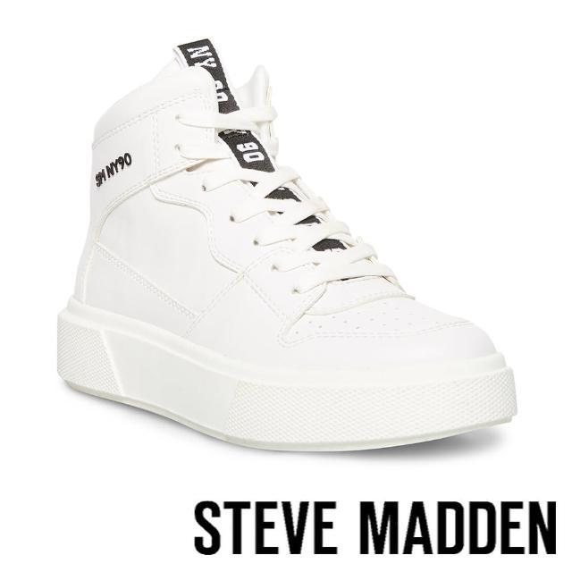 【STEVE MADDEN】HOOP 基本款拼接高筒小白斜(白色)