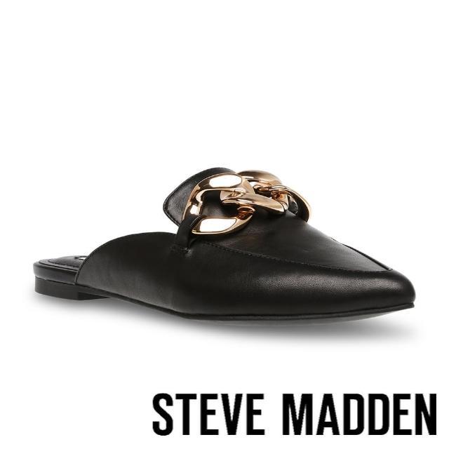 【STEVE MADDEN】FINN 飾釦尖頭平底穆勒拖鞋(黑色)