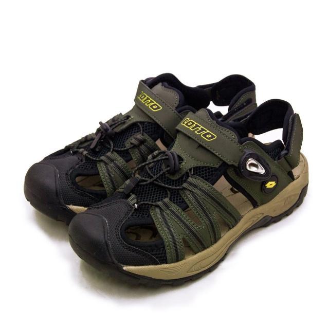 【LOTTO】男 專業排水護趾戶外運動涼鞋 山水玩家系列(軍綠黑 1630)