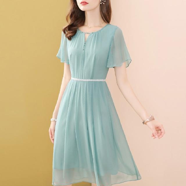 【FQ 時尚天后】藍綠V挖空領晶鑽白線腰圈雪紡洋裝(S-2XL)