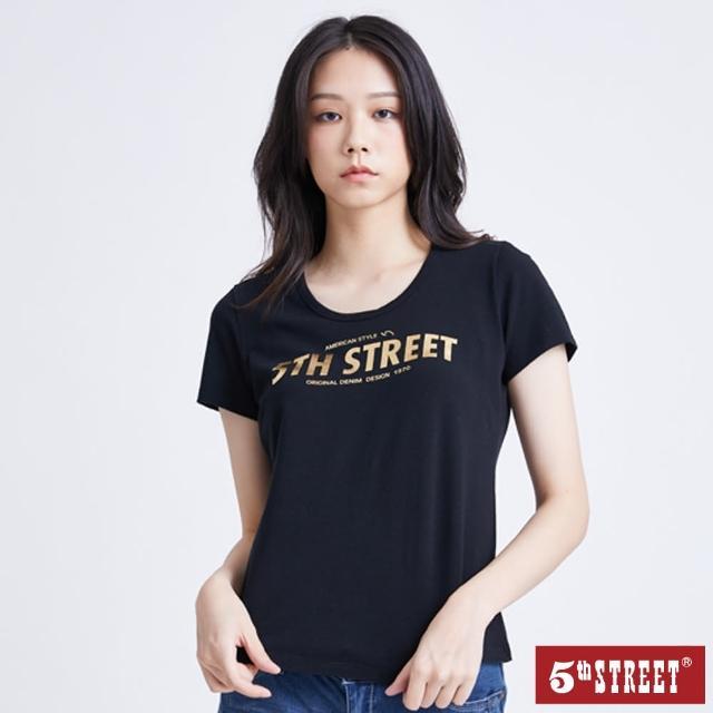 【5th STREET】女燙金粗體LOGO短袖T恤-黑色