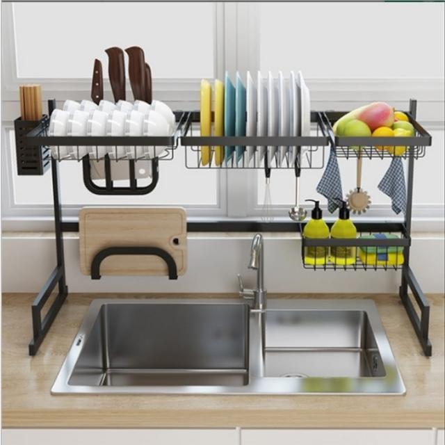 【AOTTO】升級款伸縮不銹鋼水槽瀝水架(廚房收納架 置物架)