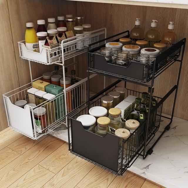 【AOTTO】多功能廚房浴室抽屜置物架 收納架(下水槽收納架 置物架)