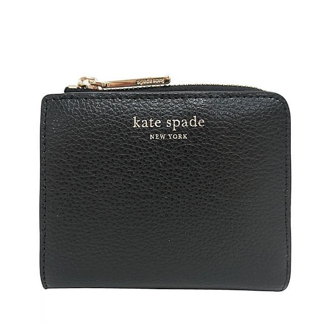 【KATE SPADE】Kate Spade EVA金字LOGO牛皮6卡對開扣式短夾(黑)