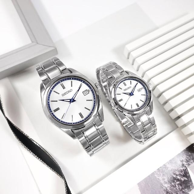 【SEIKO 精工】限量款 140週年 簡約 日期 不鏽鋼手錶 情人對錶 銀白色 40mm+30mm(6N52-00E0S.6N22-00R0S)