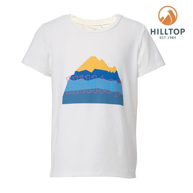 【Hilltop 山頂鳥】童款Polygiene抗菌吸濕快乾山形印花T恤(S04C18白)