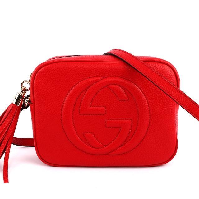 【GUCCI 古馳】SOHO 皮革流蘇 disco小方型側背包(莓紅色)