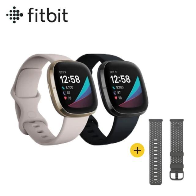 超值組【Fitbit】Sence 進階健康智慧手錶(睡眠血氧監測)+皮革錶帶(灰黑色L)