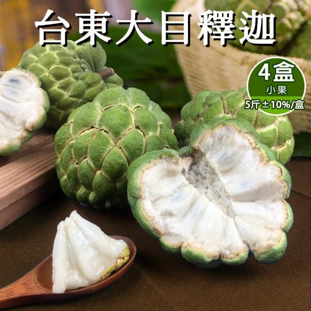 【預購-產地直送】台東香甜好吃大目釋迦5斤含箱重6-9顆(共4盒)