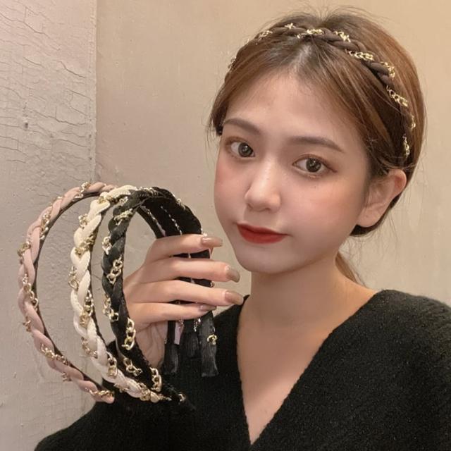 【Emi 艾迷】時尚小香風金屬感麻花辮髮箍