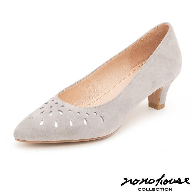 【nono house】MIT羊皮浪漫縷空跟鞋(灰)